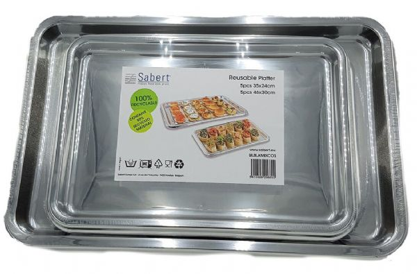 10 Sabert Plastic Food/Sandwich Party Platter Large & Small Serving Trays Silver